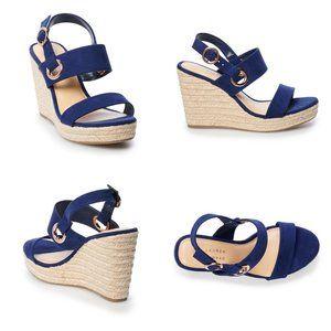 LC Lauren Conrad Navy Blue Sherbet Wedge Sandals
